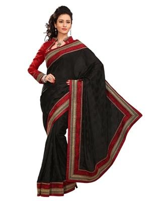 Triveni Stylish Black Colored Border Work Indian Designer Beautiful Saree