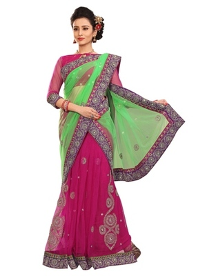 Triveni Stylish Pink Colored Embroidered Indian Designer Beautiful Saree