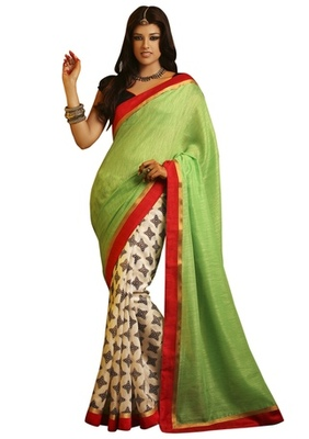 Triveni Elegant Green Colored Indian Traditional Bhagalpuri Silk Saree