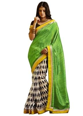 Triveni Elegant Offwhite Colored Indian Traditional Bhagalpuri Silk Saree