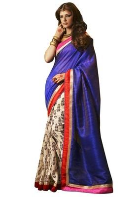 Triveni Elegant Navy Blue Colored Indian Traditional Bhagalpuri Silk Saree