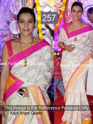 Kajol white cotton saree