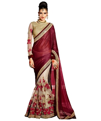maroon embroidered faux lycra saree With Blouse