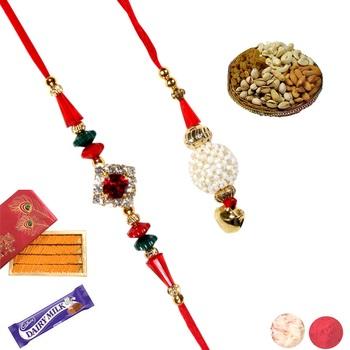 Rakhi sweet hamper with rakhis