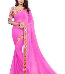 Buy pink plain nazneen saree With Blouse ethnic-saree online