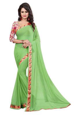 light green plain nazneen saree With Blouse