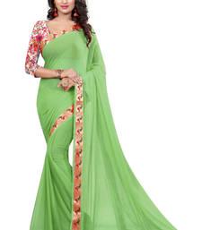 Buy light green plain nazneen saree With Blouse ethnic-saree online