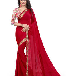 Buy red plain nazneen saree With Blouse ethnic-saree online