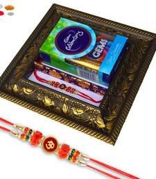 Buy Auspicious om rakhi with chocolate tray gift hamper rakhi-gift-hamper online