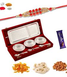 Buy Designer bracelet rakhi and german silver three bowl set gift hamper with dryfruits bracelet-rakhi online