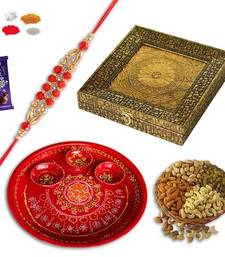 Buy Exclusive bracelet rakhi and red ganesh rakhi thali and designer gift box with dryfruit gift hamper bracelet-rakhi online