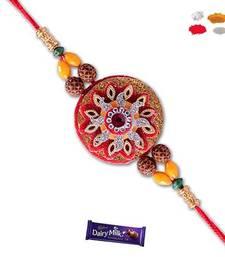 Buy Bead and sunflower shape red zardosi rakhi rakhi-gift-hamper online