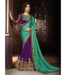 Buy multicolor embroidered georgette saree With Blouse