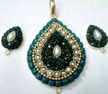 Green Takkar work pendent with earrigns