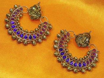 Ramleela Original Earring with Pink & Purple color Stones