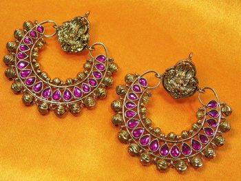 Ramleela Original Earring with Shiny Pink kundan