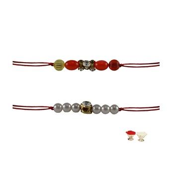 Multicolor Beads Stud Handmade Beads Rakhi