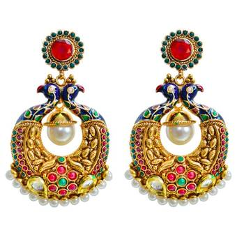 Via Mazzini Amaara Peacock Jodi Traditional Red Earrings
