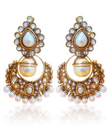 Classic White Pearl Polki Earring By Adiva v2w DDS 6 shop online