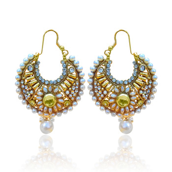 White Flower Pearl Bali Polki Earring ha071