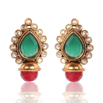 Elegant Green with Maroon Earring By Adiva v33g