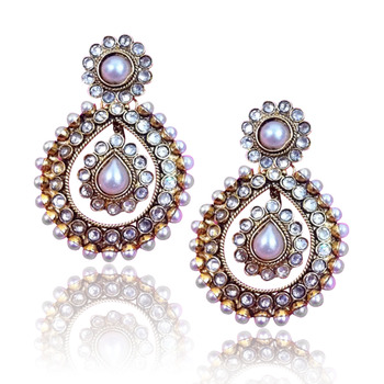 Ethnic Golden Earrings with Pearls by ADIVA C162