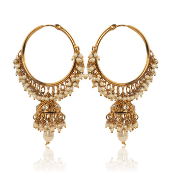 White Hoop Earrings with Pearls by ADIVA ABSWE0BI0028 TDS 6