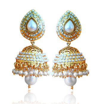 Ethnic Pearl Jhumka Earrings with White Stones by ADIVA ABSAT0CB0102 TDS 12