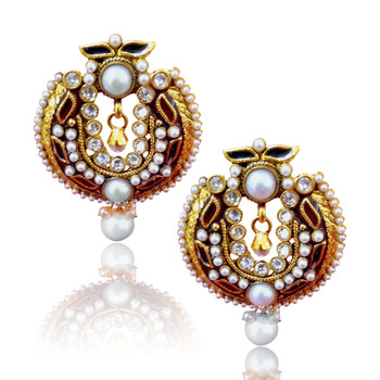 Maroon White Antique Glowing Earring v141