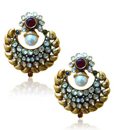 Buy Antique beautiful pearl polki with red stone earring by adiva vi115 gifts-for-wife online