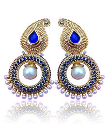Buy Blue Stone Paisley pearl golden polki earring , ethnic Indian Bollywood ha70b DDS 9 danglers-drop online
