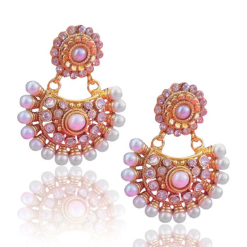Beautiful white glow pearl polki earring, ethnic Indian Bollywood Jewelry c435w