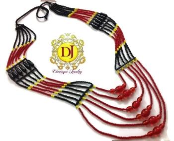 6 line muticoloured tribal neckace