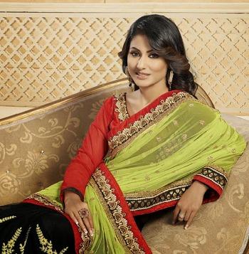 Green and black half n half akshara saree for wedding