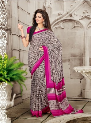 Crepe Grey Printed Saree