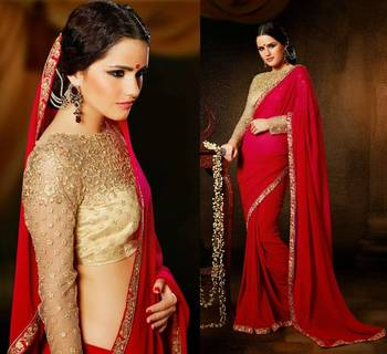 aa426771fe49df Ravishing Red with Golden Designer Heavy look Blouse Party Wear Saree -  Valehri - 153782