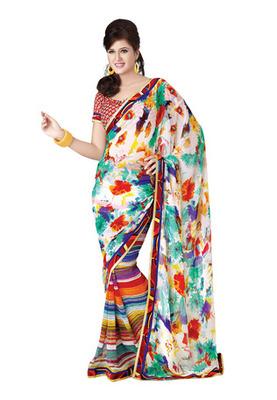 Fabdeal Casual Wear Multi Colored Georgette Saree