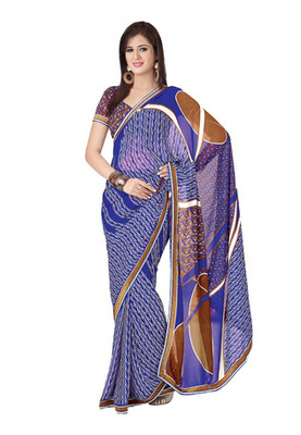 Fabdeal Casual Wear Blue Colored Georgette Saree