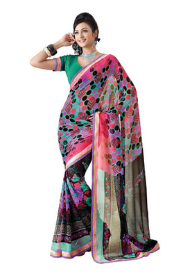 Fabdeal Casual Wear Light Pink & Black Colored Georgette Saree