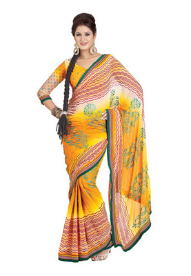 Fabdeal Casual Wear Orange Colored Chiffon Saree