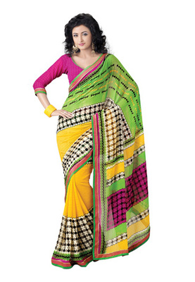 Fabdeal Casual Wear Yellow Colored Marble Chiffon Saree