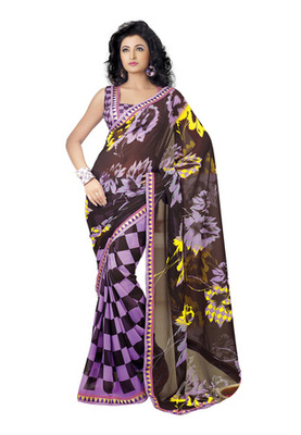 Fabdeal Casual Wear Light Purple Colored Marble Chiffon Saree
