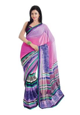 Fabdeal Casual Wear Light Purple & Pink Colored Marble Chiffon Saree