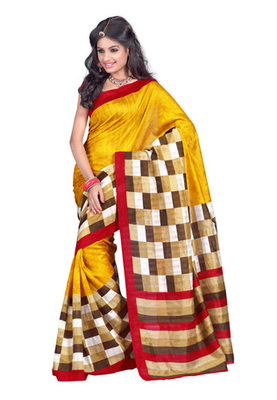 Fabdeal Casual Wear Golden & Red Colored Bhagalpuri Silk Saree