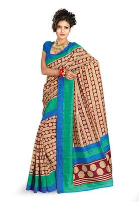 Fabdeal Casual Wear Cream & Blue Colored Bhagalpuri Silk Saree