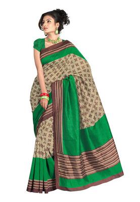 Fabdeal Casual Wear Cream & Green Colored Bhagalpuri Chex Saree