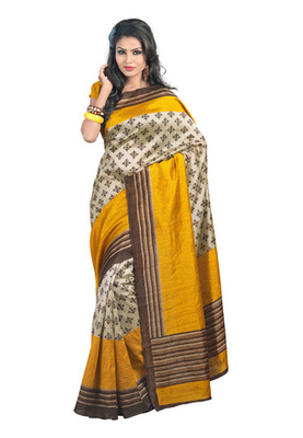 Fabdeal Casual Wear Cream & Golden Colored Bhagalpuri Chex Saree