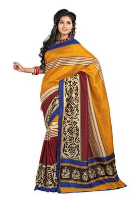Fabdeal Casual Wear Golden & Blue Colored Bhagalpuri Silk Saree