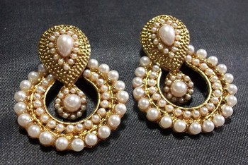 white pearl polki earrings