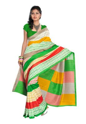 Fabdeal Casual Wear Multi & Green Colored Bhagalpuri Silk Saree
